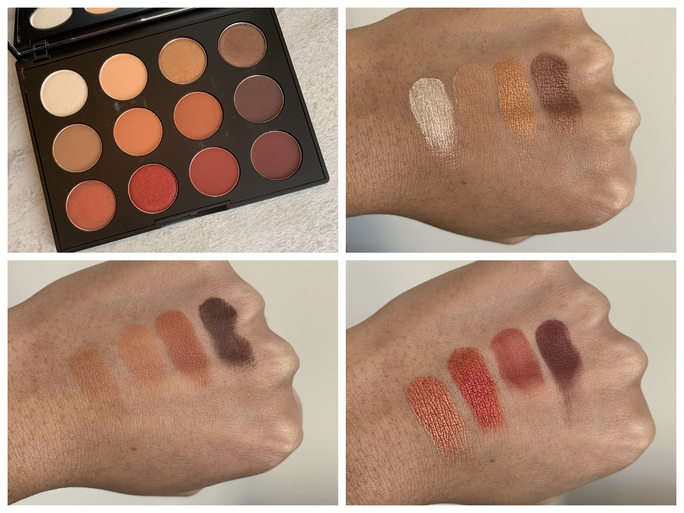 MAC Art Library Flame-Boyant Palette swatches on medium dark skin