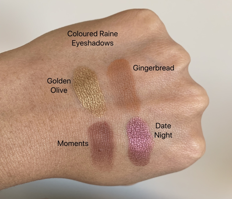 Coloured Raine Single Eyeshadows (golden olive, gingerbread, moments, date night) swatches on dark skin