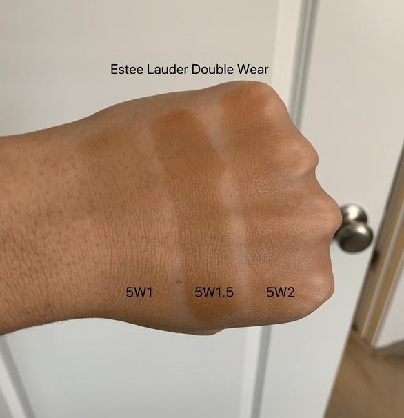 Estee Lauder Double Wear Foundation swatches (5W1 Bronze, 5W1.5 Cinnamon, 5W2 Rich Caramel) medium-dark skin