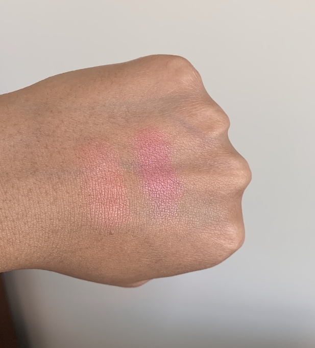 bareMinerals Bounce and Blur Coral Cloud and Mauve Sunrise Blush Swatches on Dark Skin