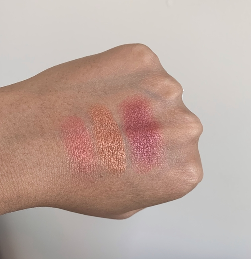 Becca Luminous Blush swatches on dark skin (snapdragon, blushed copper, dahlia)