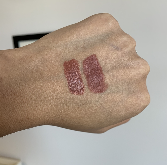 Bite beauty power move creamy matte lip crayon calvados swatch on dark skin compared to MAC Persistence (matte)