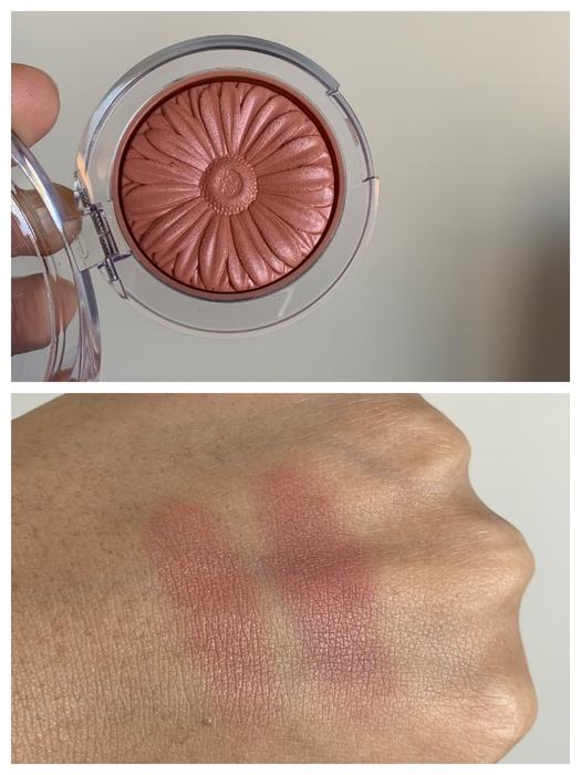 Clinique FIg Pop Blush Swatch on dark skin (left swatch)