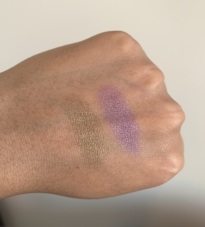 Clinique Lid Pop Eyeshadows grape pop willow pop swatches on dark skin