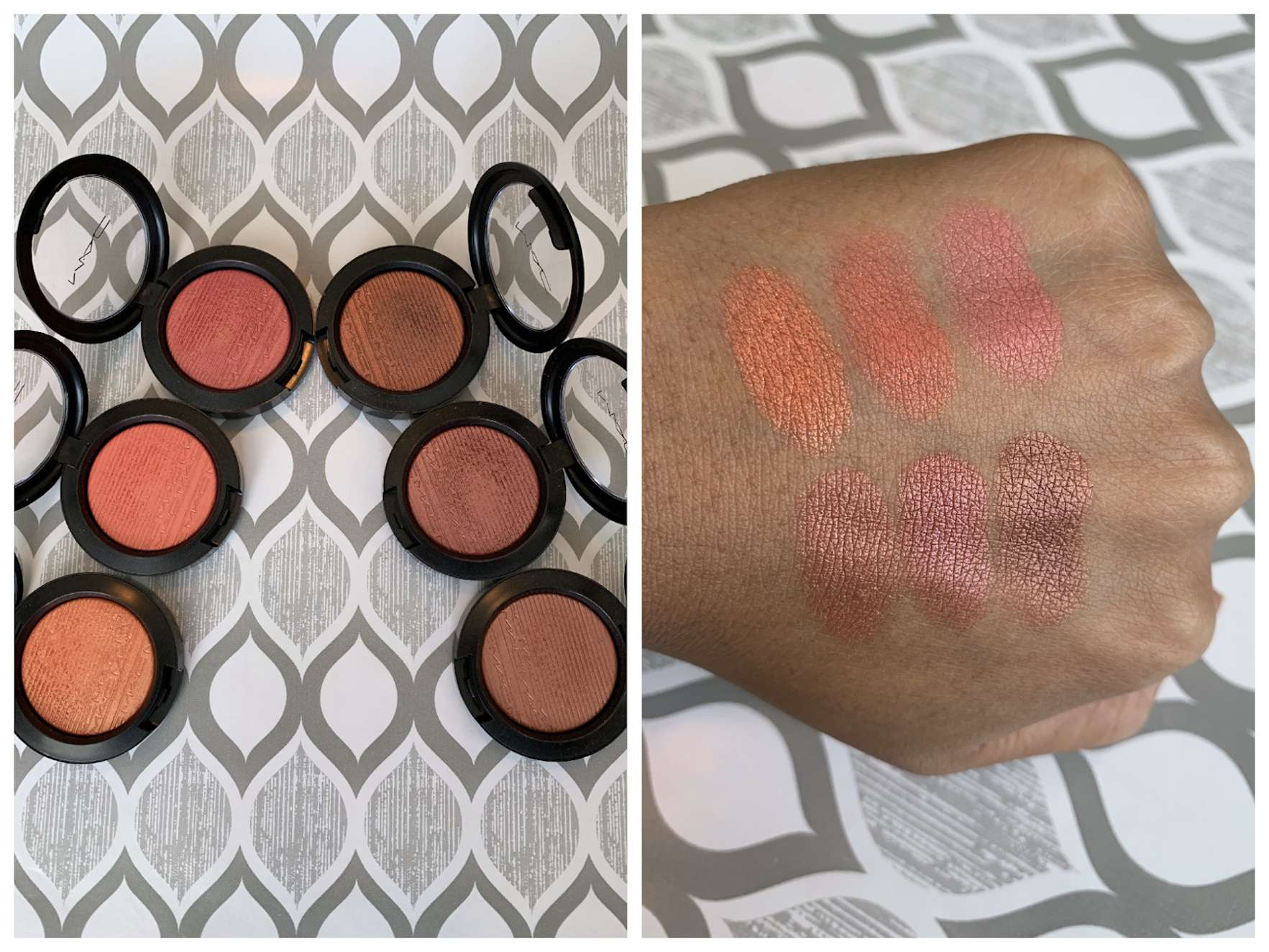 MAC Extra Dimension Blush Swatches (Telling Glow, Cheeky Bits, Sweets For My Sweet, Hushed Tone, Faux Sure!, Hard To Get) medium dark skin