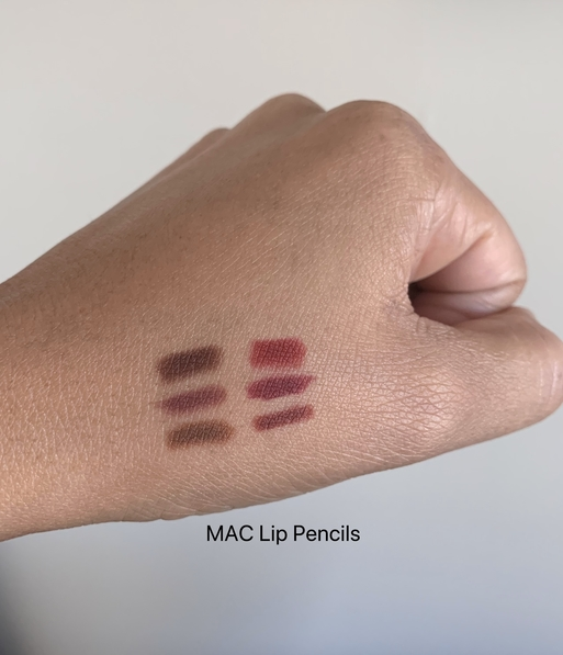 MAC Lip Pencil Swatches on dark skin (Chestnut, plum, cork, auburn, burgundy, mahogany)