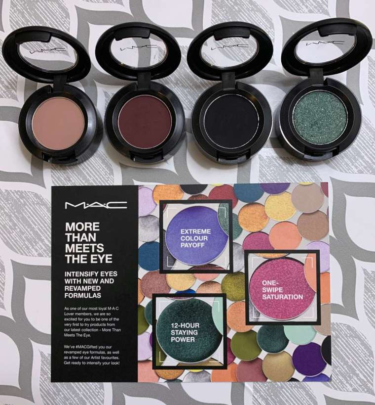 MAC Eyeshadows Spring 2020 (royal rendezvous, shady Santa, carbon, and that's showbiz baby swatches on dark skin