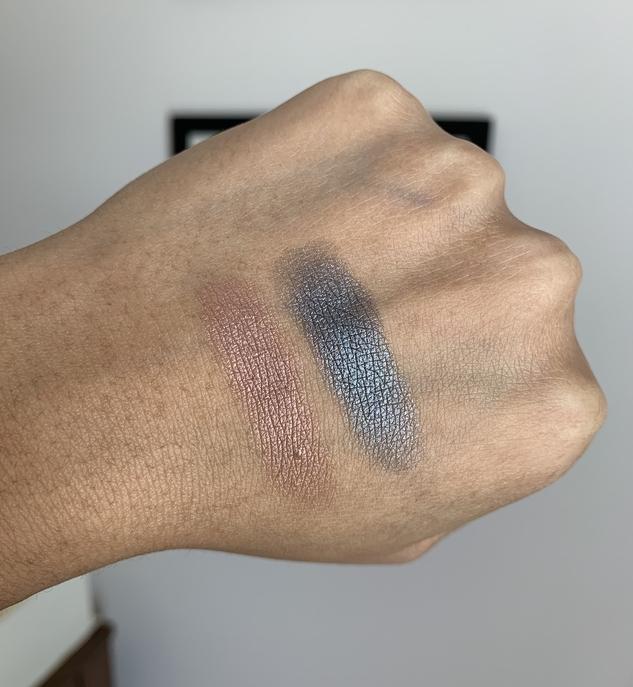 MUFE artist color eye shadows I-544 pink granite and ME-108 steel swatches on dark skin