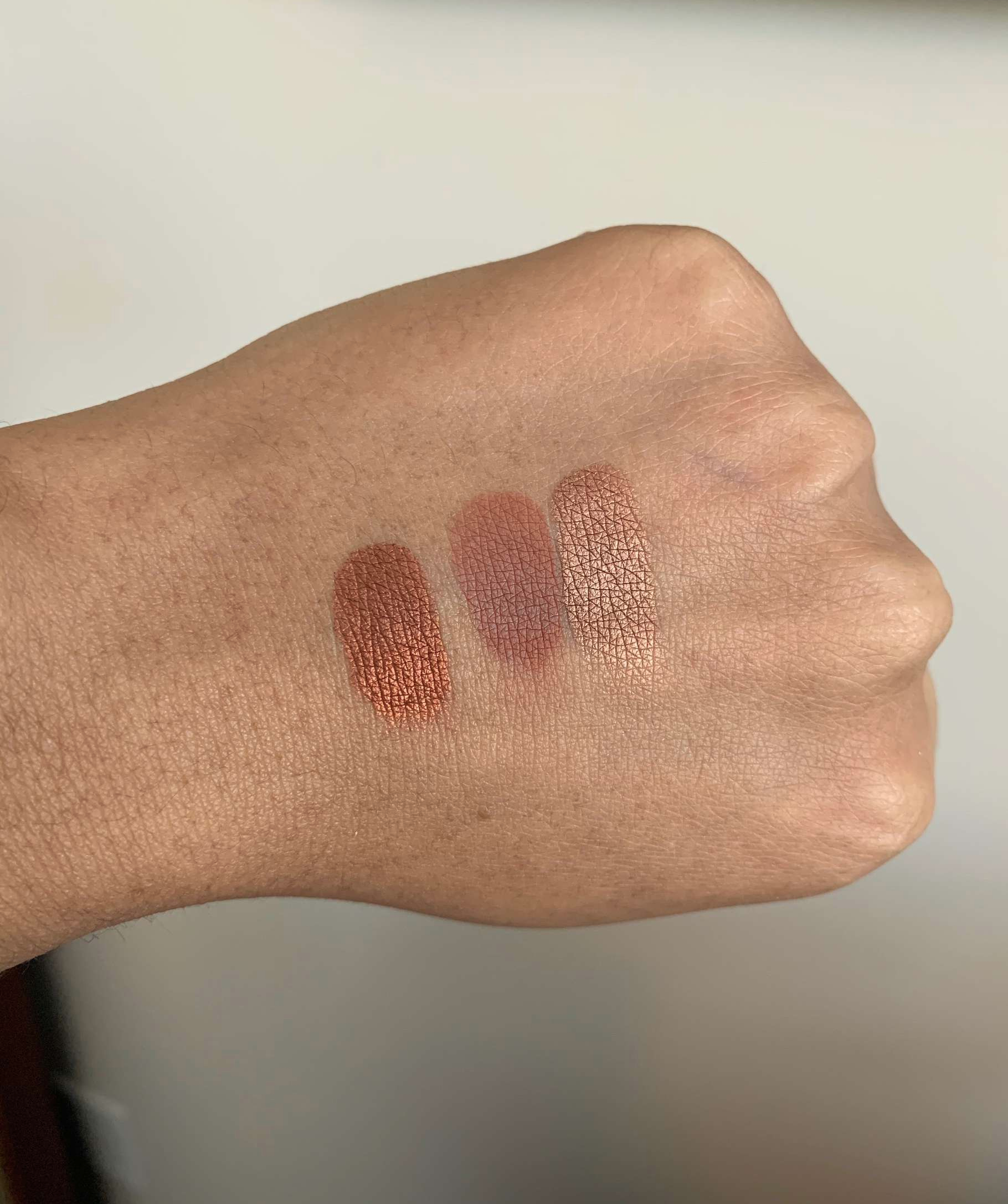 NARS single eyeshadow swatches (Guayaquil, Noumea, and Fez) on dark skin