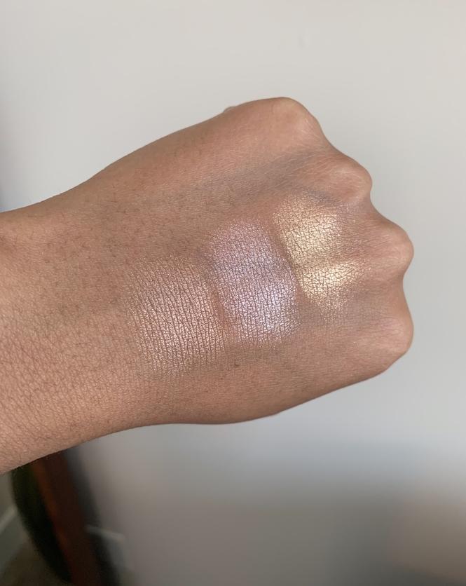 Laura Mercier Face Illuminator Highlighting Powder indiscrection devotion addiction swatches on dark skin