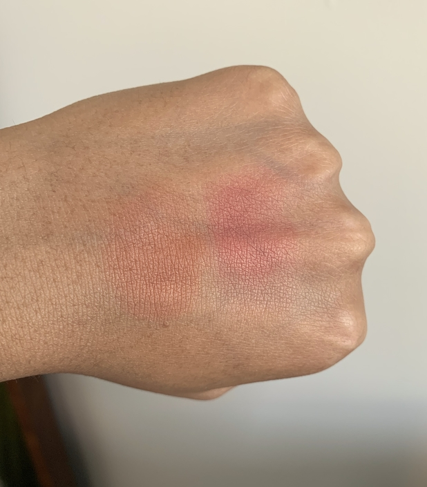 MAC Mineralize Blush swatches on dark skin (Love Joy and Love Thing)