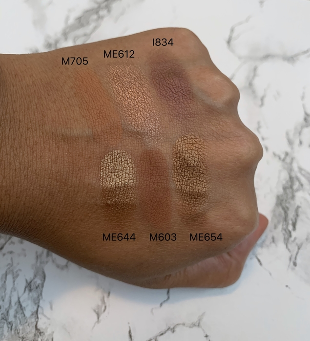 make up for ever (mufe) artist color eyeshadows swatches on dark skin (M705, ME612, I834, ME644, M603, ME654)