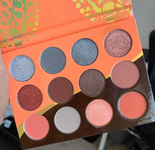 Juvia's Place The Nubian 3 Coral Palette swatches on medium dark skin