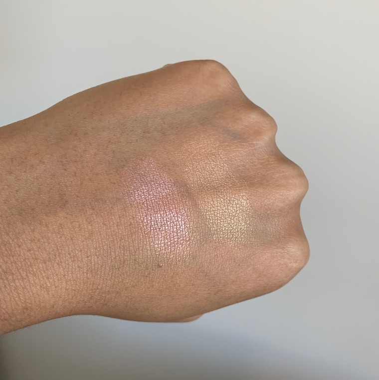 NARS Highlighting Powder in Maldives and Ibiza swatches on medium dark skin NC44/NC45