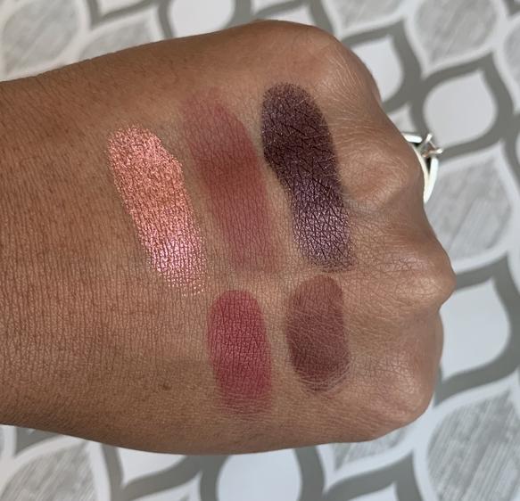 Coloured Raine x Power Eyeshadow Palette swatches on medium dark skin (revenge, deception, alibi, betrayal, testify)