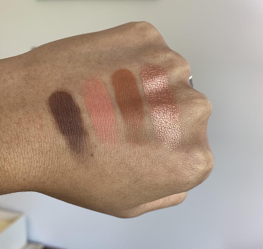 Sigma cor de rosa eyeshadow palette swatches on medium dark skin