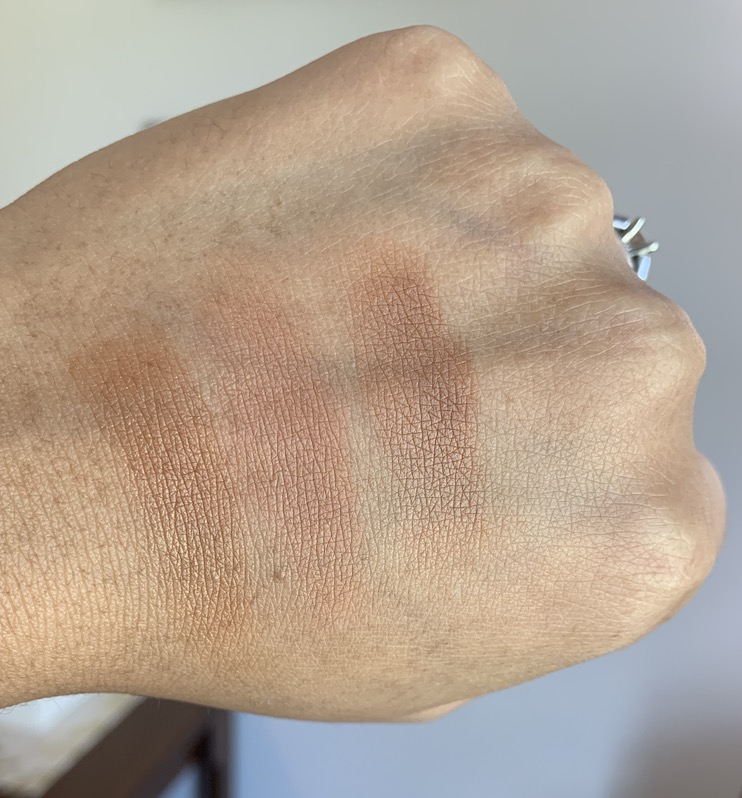 Becca Ipanema Sun, Bobbi Brown Elvis Duran, Mac Totally Taupeless Dark Skin Swatches