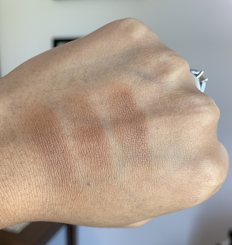 Estee Lauder Hot Spell Bronzer, NARS Punta Cana, and Mac Totally Taupeless Bronzing Powder Dark Skin Swatches