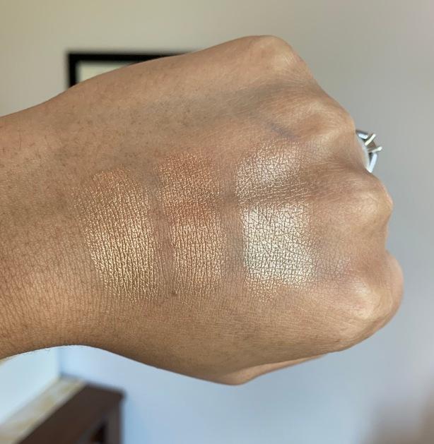 Mac La Leyenda vs Soul Glow (LE) and Whisper Of Gilt Swatches on dark skin