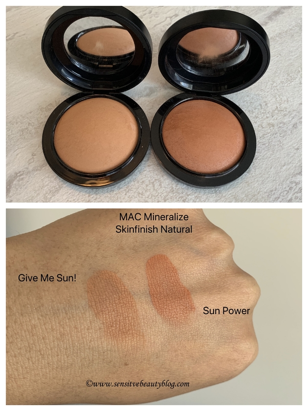 MAC Mineralize Skinfinish Natural Bronzer Swatches (Give Me Sun and Sun Power)