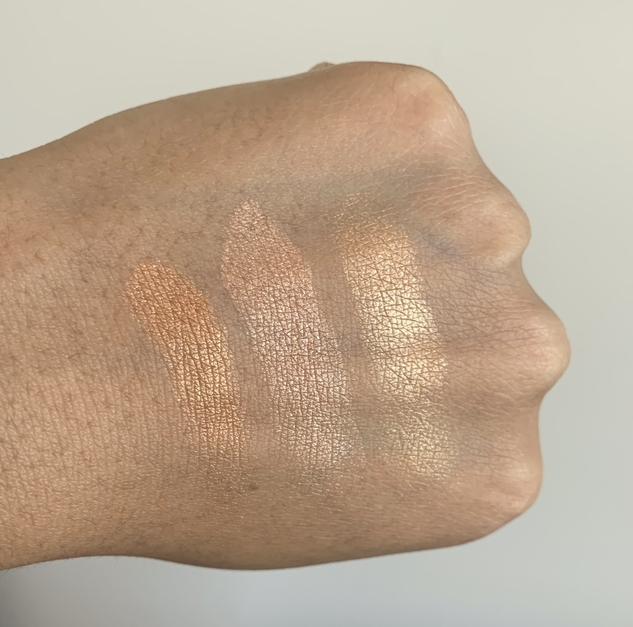 MAC Hyper Real Glow Highlighting Palette Shimmy Peach Swatches on medium dark skin