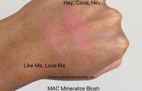 MAC Mineralize blush matte swatches (hey coral hey and like me love me)