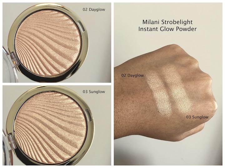 Milani strobelight instant glow powders dayglow sunglow swatches on medium dark skin