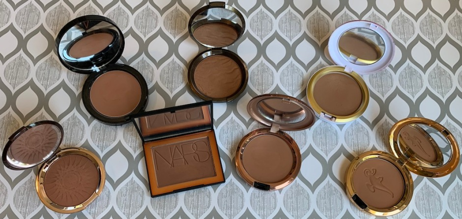 Estee Lauder Hot Spell Bronzer, Bobbi Brown Elvis Duran Bronzing Powder, NARS Punta Cana Bronzing Powder, Becca Ipanema Sun, Mac Totally Taupeless Bronzing Powder, Mac Sun Soaked Strip, Mac Your Wish Is My Command