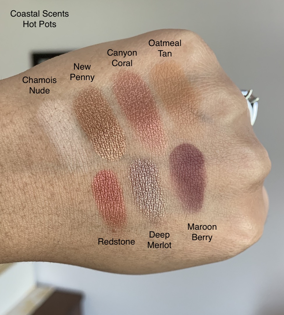 Coastal Scents Hot Pots Chamois Nude, New Penny, Canyon Coral, Oatmeal Tan, Redstone, Deep Merlot, and Maroon Berry Eyeshadow Swatches