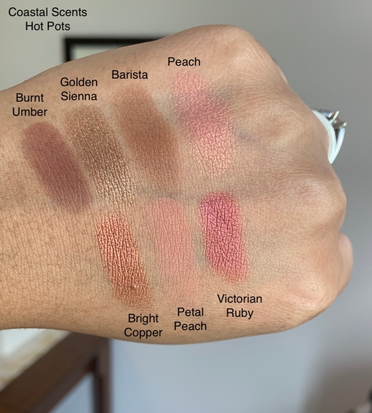 Coastal Scents Hot Pot Burnt Umber, Goden Sienna, Barista, Peach, Bright Copper, Petal Peach, and Victorian Ruby Eyeshadow Swatches
