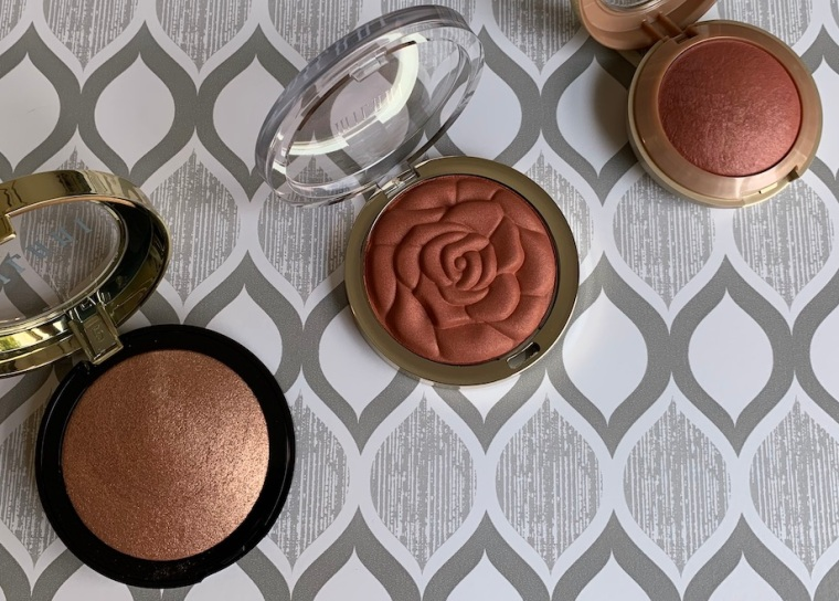Milani Baked Highlighter in Rosa Italiana, Rose Powder Blush in Spiced Rose, and Baked Powder Blush in Sunset Passione