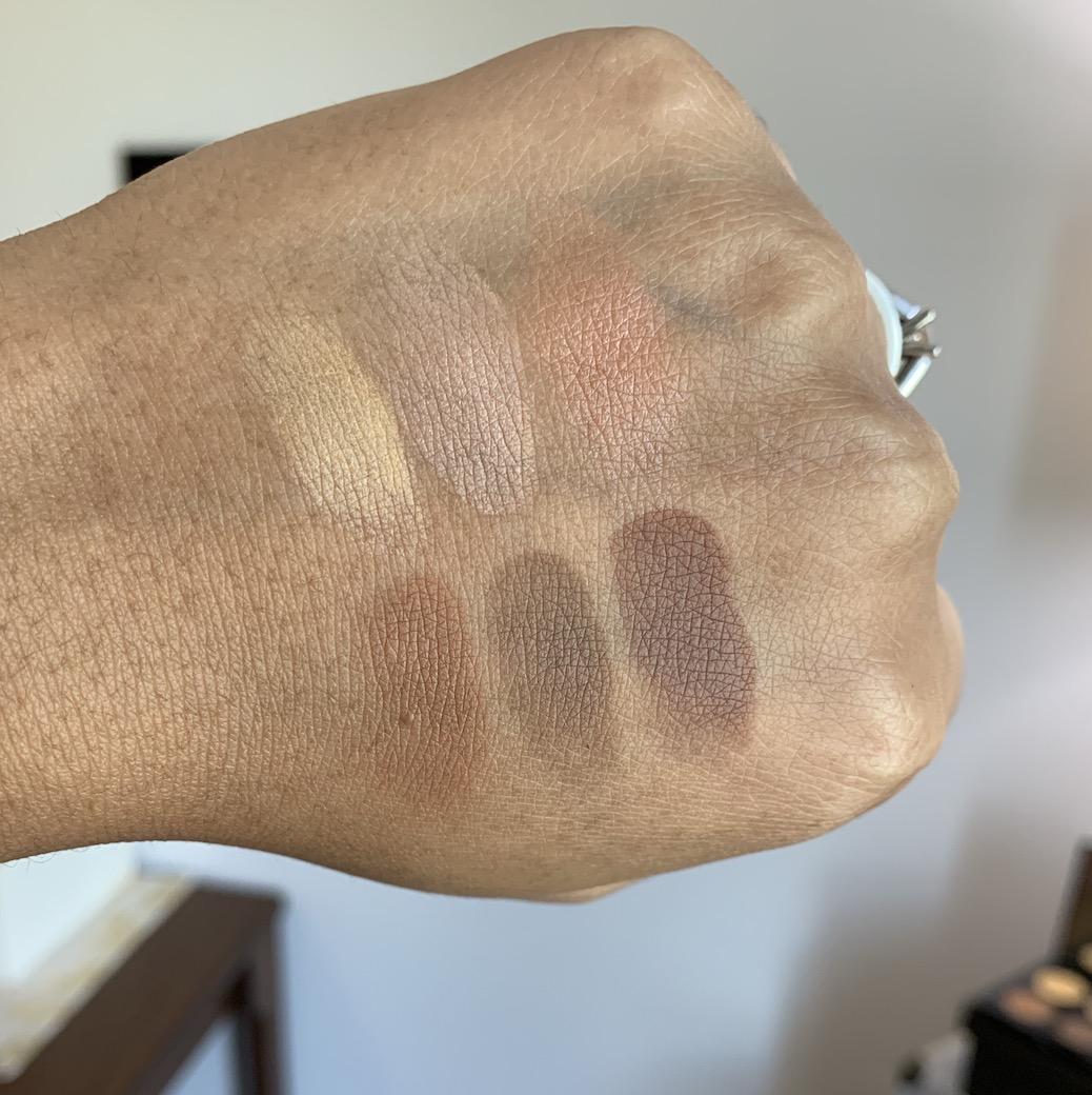 MAC Cosmetics Medium Dark Dark Sculpt and Shape Contour Palette Powder Swatches on Dark Skin