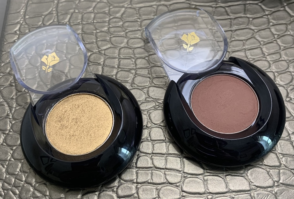 Lancome Color Design Eyeshadows Gold Lame and Canyon Swatches on Medium Dark Skin