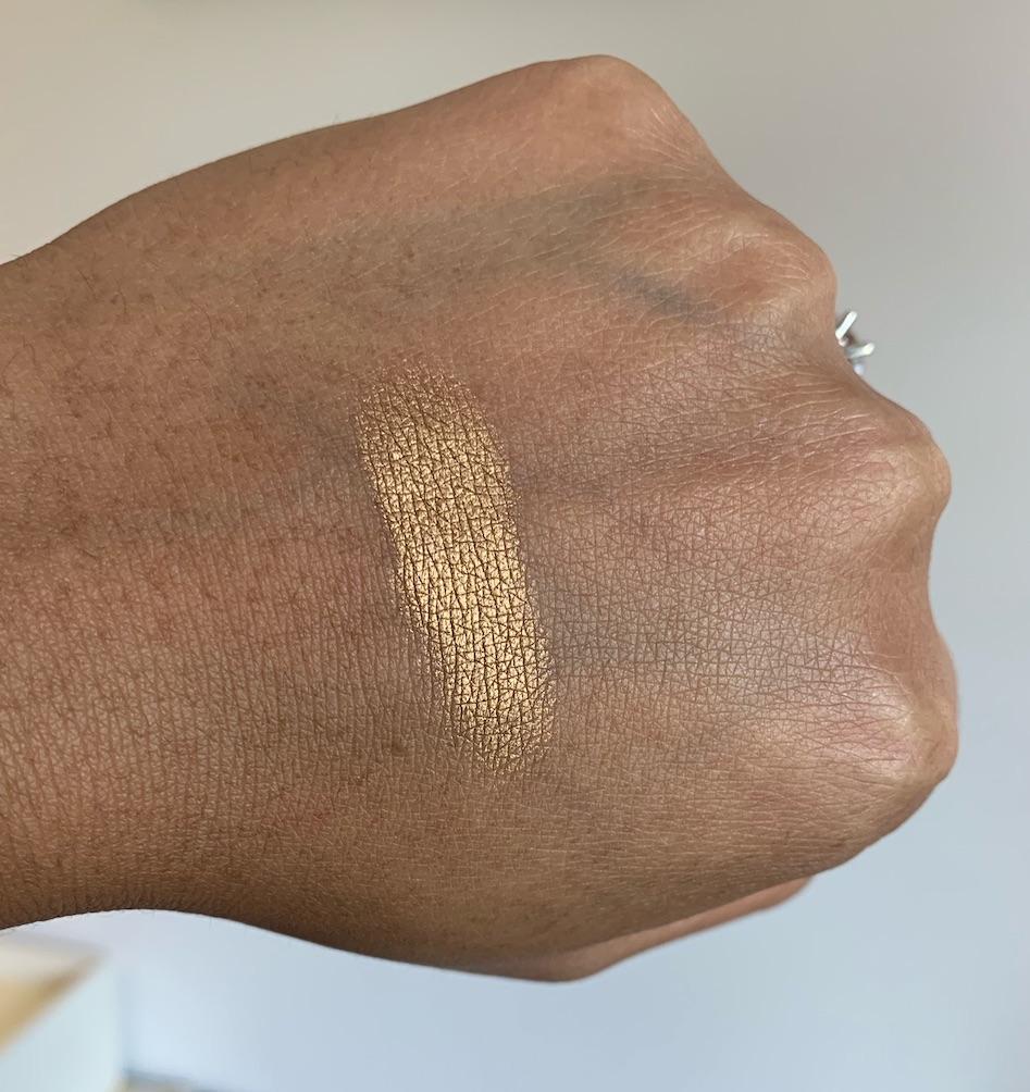 Lancome Color Design Eyeshadow in Gold Lamé Swatch on Medium Dark Skin