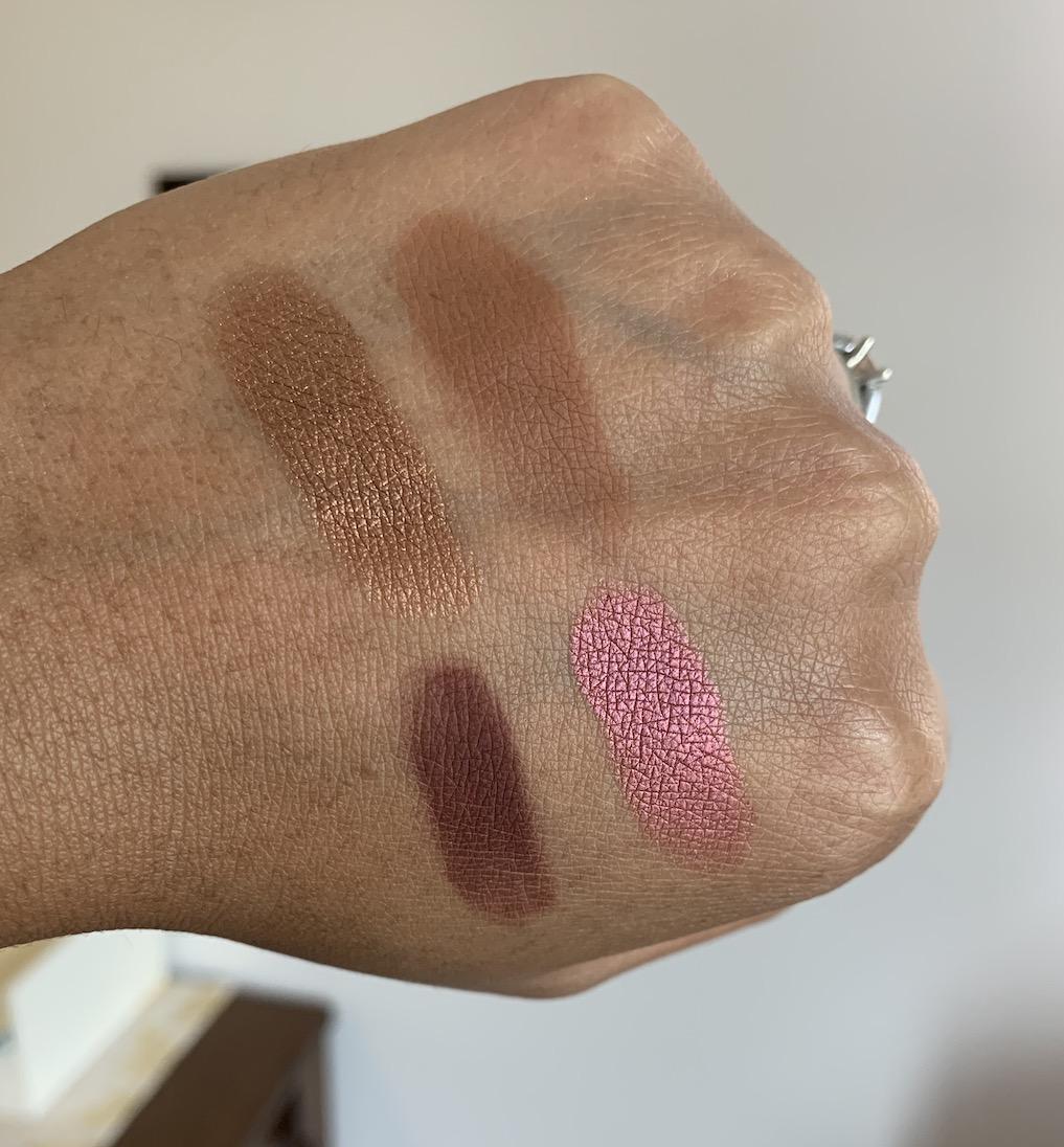 MAC Cosmetics Eyeshadow Singles Swatches on Medium Dark Skin (bronze, saddle, I'm into it, cranberry)