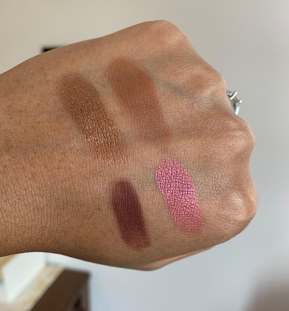 MAC Cosmetics Eyeshadow Singles Swatches on Dark Skin (bronze, saddle, I'm into it, cranberry)