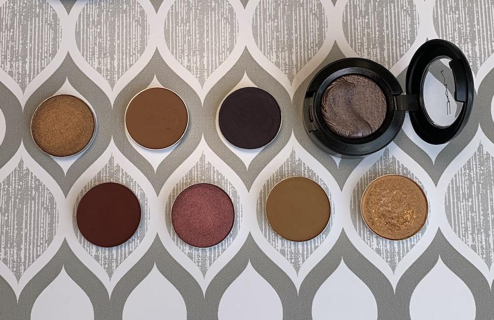 MAC Cosmetics Eyeshadow Singles (bronze, saddle, stolen moment, I'm into it, cranberry, uninterrupted, amber lights) Swatches on medium dark skin