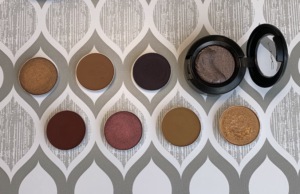 MAC Cosmetics Eyeshadow Singles (bronze, saddle, stolen moment, I'm into it, cranberry, uninterrupted, amber lights)
