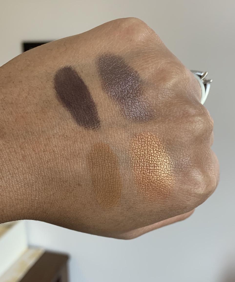 MAC Cosmetics Eyeshadow Singles Swatches on Medium Dark Skin (shadowy lady, stolen moment, uninterrupted, amber lights)
