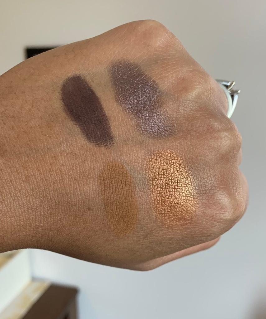 MAC Cosmetics Eyeshadow Singles Swatches on Dark Skin (shadowy lady, stolen moment, uninterrupted, amber lights)