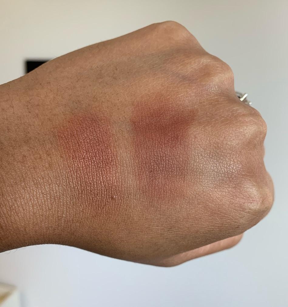 NARS Savage Blush Swatch and MAC Raizin Blush Swatch on medium dark skin