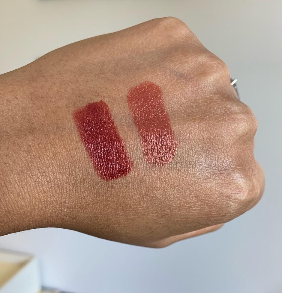 Revlon Super Lustrous Raisin Rage Swatch and Chanel Rouge Coco Antoinette Swatch on medium dark skin