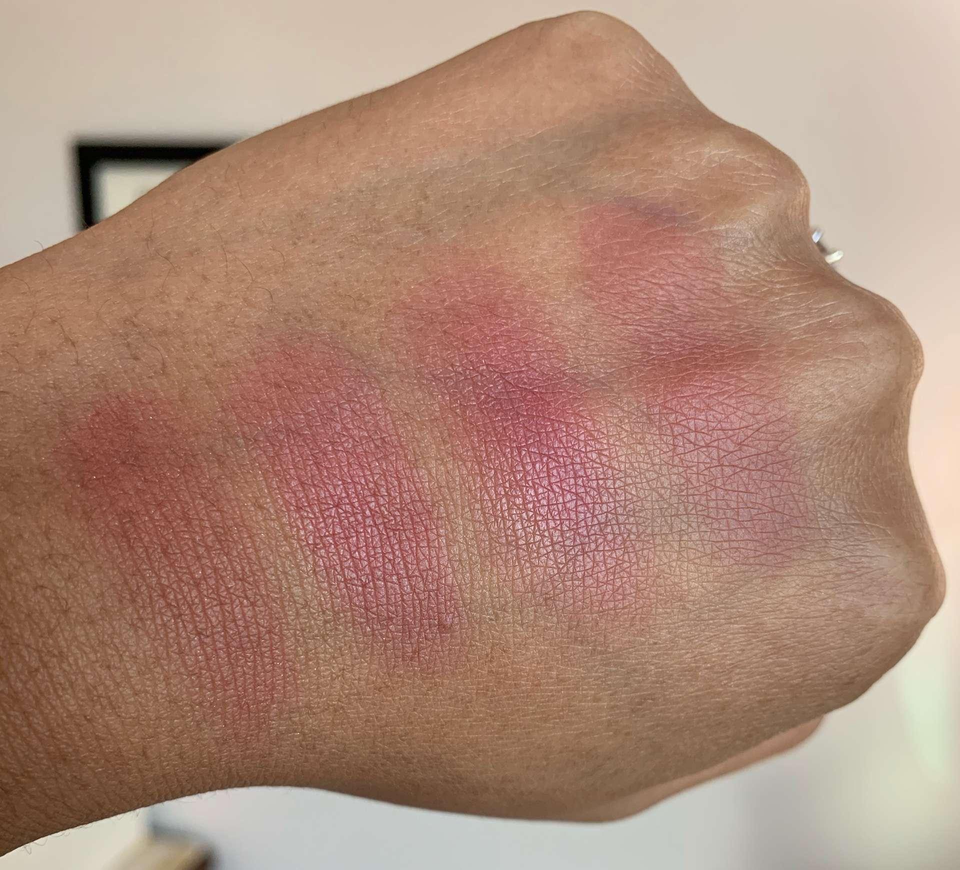 Bobbi Brown blush swatches (slopes, rose, sand pink, tawny) on medium dark skin