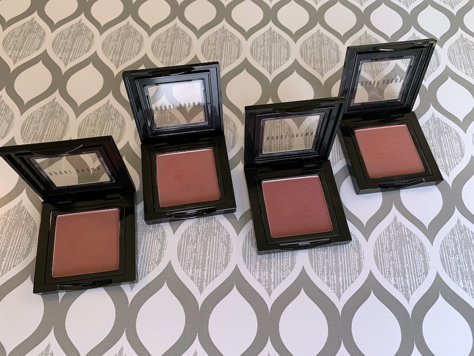 Bobbi Brown Blush slopes, rose, sand pink, and tawny swatches on dark skin