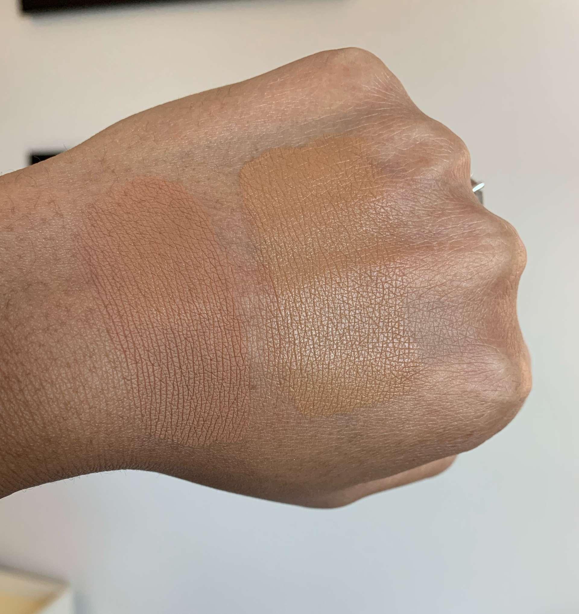 Estee Lauder double wear shade 5w2 rich caramel and nars natural radiant longwear shade tahoe swatches on medium dark skin