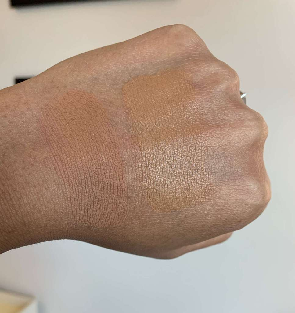 Estee Lauder double wear shade 5w2 rich caramel and nars natural radiant longwear shade tahoe swatches