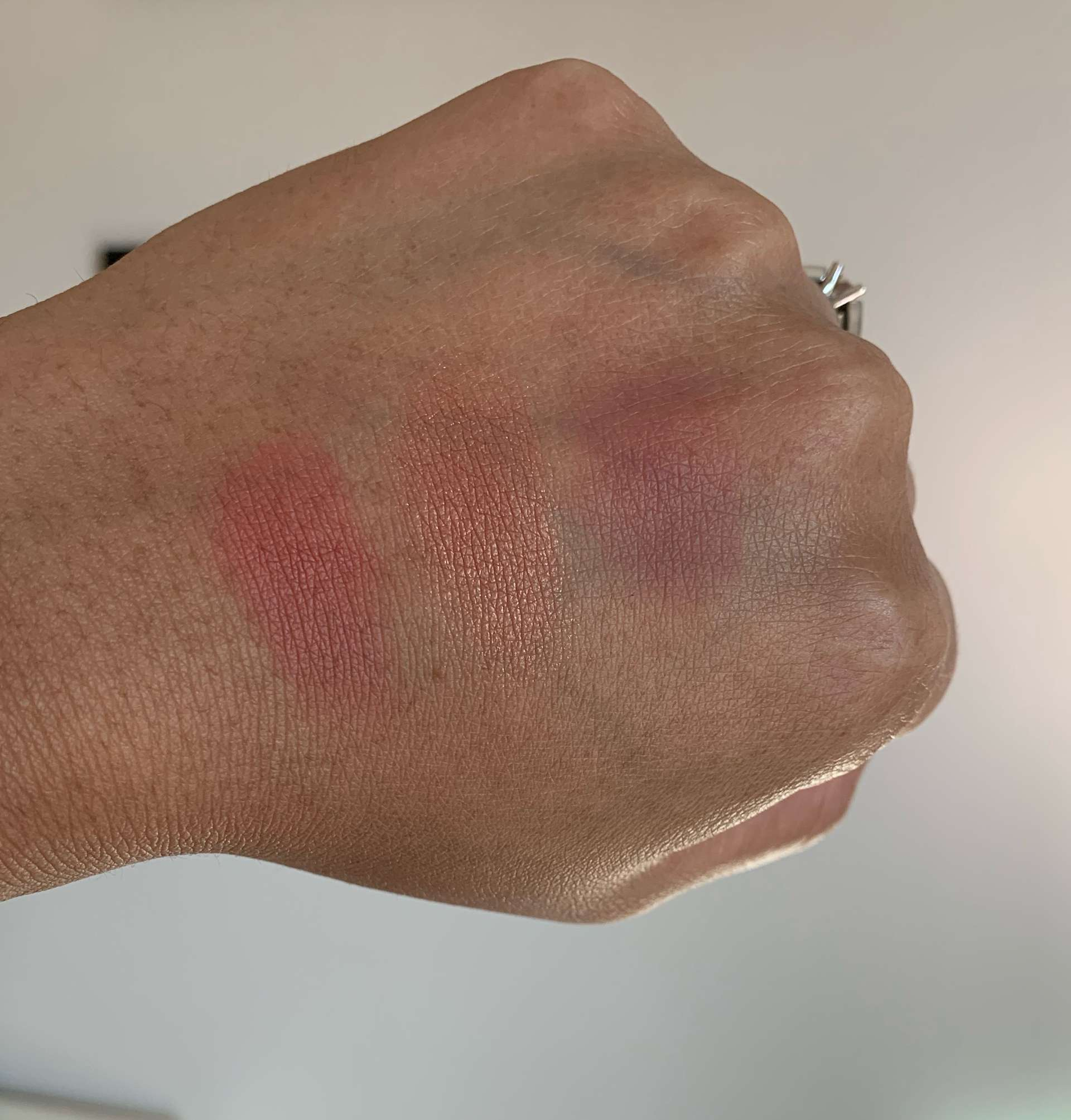 MAC matte Blush Burnt Pepper, sheertone shimmer blush peachtwist, and Sheertone blush breath of plum swatches dark skin