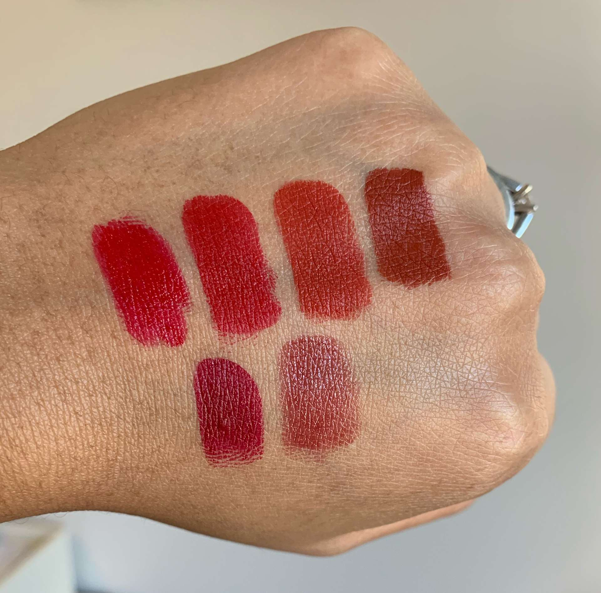 MAC Cosmetics Lipstick Swatches (mac red, russian red, chili, marrakesh, d for danger, spice it up)