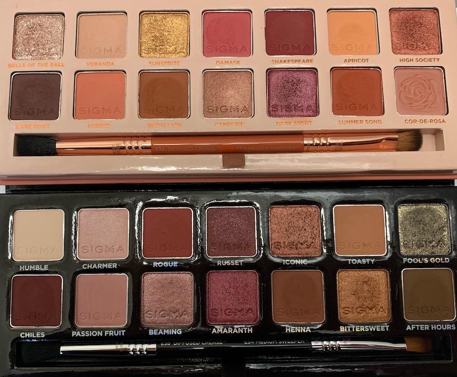 Sigma Warm Neutrals Eyeshadow Palette vs Sigma Cor-de-Rosa Eyeshadow Palette Swatches