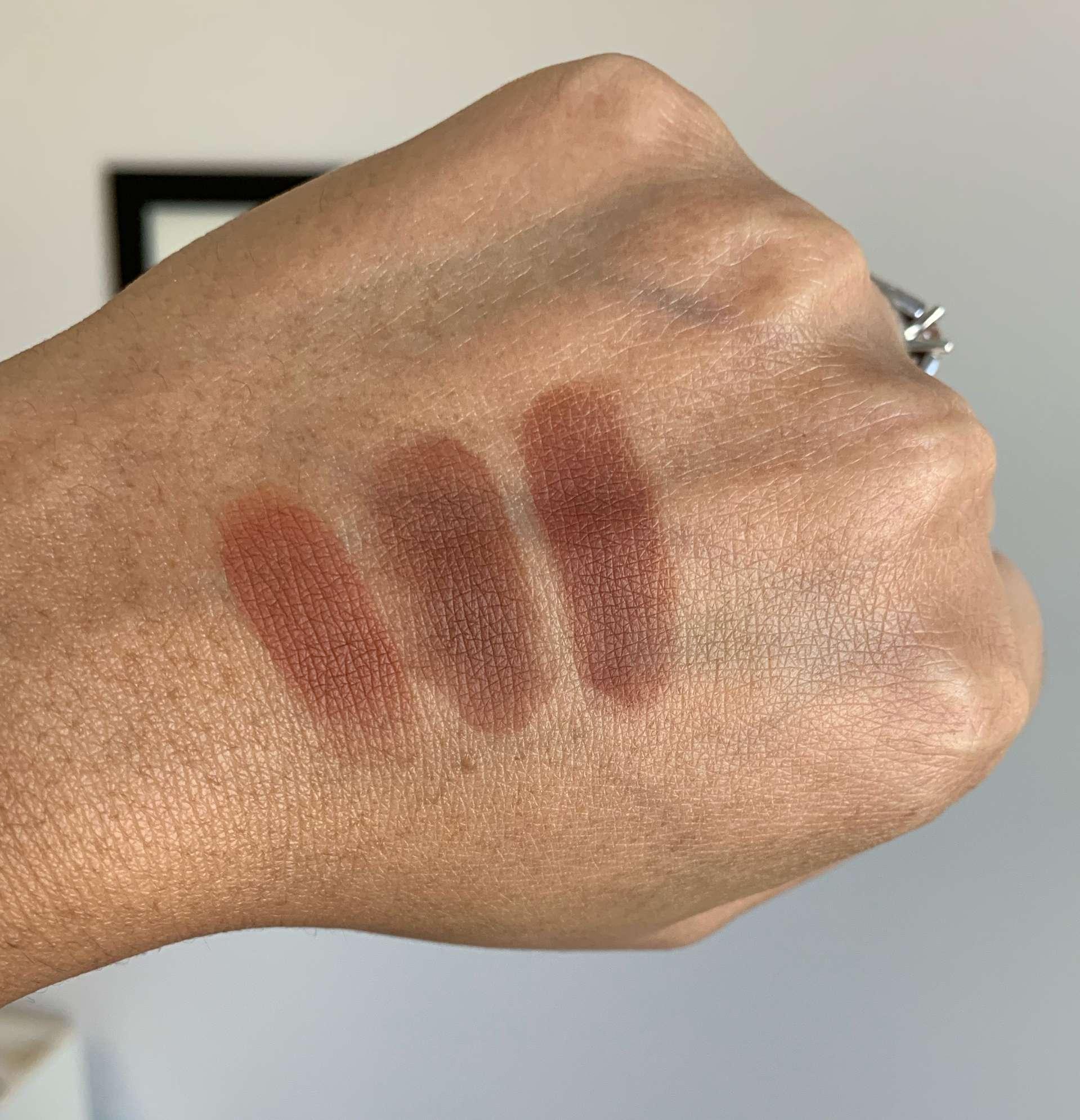 MAC eyeshadow swatches brown script, swiss chocolate, bougie babe (LE) medium dark skin